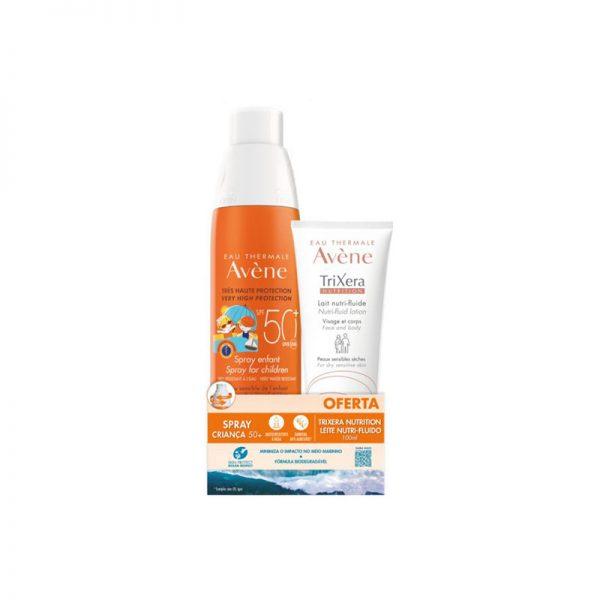 Avène Solar Spray Criança SPF 50+ 200mkl c/ Oferta Trixera Nutrition Leite Nutri-Fluido 100ml
