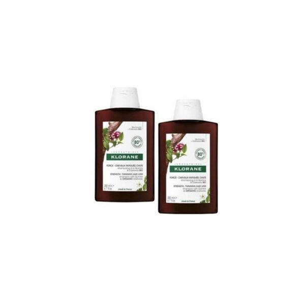 Klorane Quinina e Edelvaisse Bio Duo Champô antiqueda cabelo desvitalizado 2 x 400 ml com Desconto de 50% na 2ª Embalagem